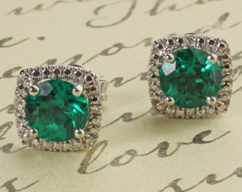 Sterling Silver 925 Lab Created Emerald & Diamond Round Halo Style Stud Earrings May Birthstone 1.68 CTW