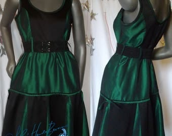 dress, green olive taffeta and black satin crepe, trapezium cut, retro styl, party festival, evening cocktail, ball of ceremony wedding