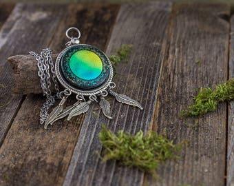 Dichroic Mandala Pendant / Dreamcatcher / Glass Pendant/ Handmade Jewelry/ Unique Pendant/ Glass Art/ Feather Art/ Trippy Pendant/