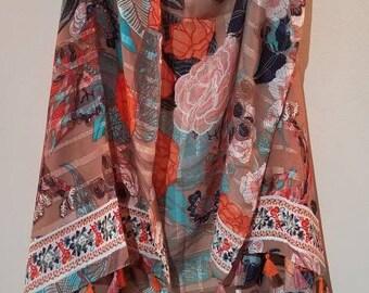 Tan Floral Vest