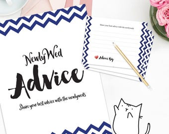 MARRIAGE ADVICE - Sign and Advice Cards for Bridal Shower - Blue Chevron | Stripes | Ocean | Simple Theme  [Instant Digital Download]