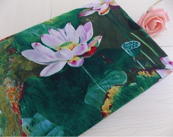 2 m fabric Chinese green lotus clothing