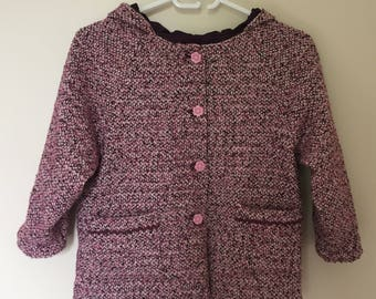 Pink girl in heathered wool coat