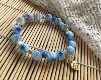 Golden azure beads millefiori blue bracelet
