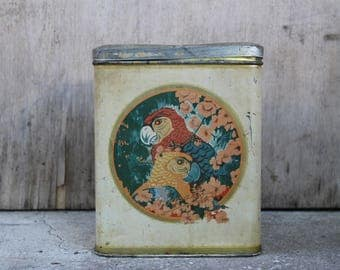 Vintage Marabou Shokladfabrik Tin Container, Swedish Marabou Chocolate Factory Big Tin Box, Kitchen Storage, Vintage Home Decor.
