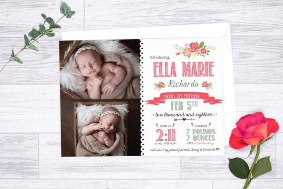 Floral birth announcement printable baby announcement template il570xn pronofoot35fo Gallery