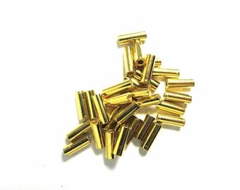 20 ROUND GOLD METAL TUBES 2/7 MM