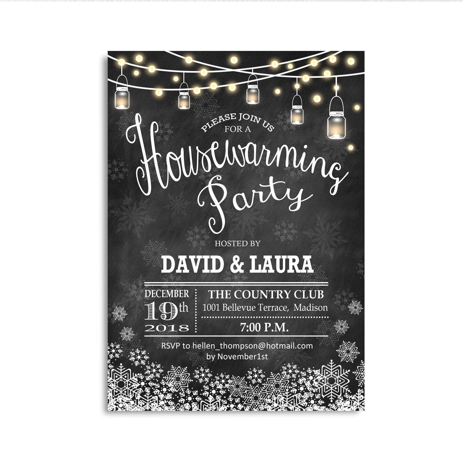 Winter Housewarming Invitation. Chalkboard Snowlakes String Fairy ...