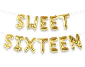 "SWEET SIXTEEN 16"" Gold Foil Letter Balloon Banner Kit"