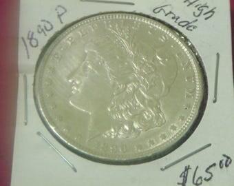 1890-P Morgan Silver Dollar
