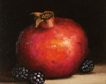 Pomegranate with blackberries #3 Original Oil Painting still life by Jane Palmer