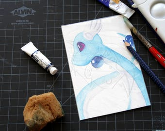 Pokemon Dragonair watercolour 4x6 painting