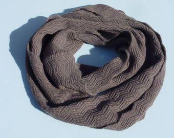 SNOOD cashmere TAUPE handmade knitting stitch Zig Zag accessories Heritageconceptparis cashmere gift woman-Valentine's day