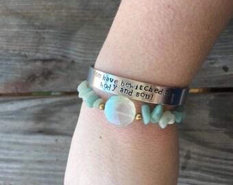 Pride and Prejudice Cuff Bracelet//Mr Darcy//Bewitched//Handstamped//Stamped Bracelet//Book Quote//Silver Jewelry//Cuff//Literature