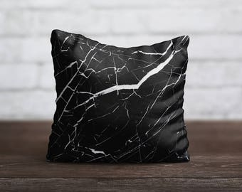 Black Marble PillowCase Style Throw Pillow Cover Decorative PillowCase Toss Pillow Silk Pillow Case Satin Pillow Cover Mom Gift Home Decor