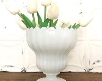 Vintage Milk Glass Vase / Scalloped Milk Glass Vase / Milk Glass Planter