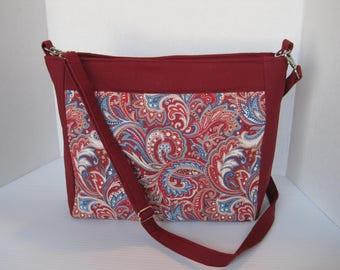 Handbag, Red Paisley Fabric, Purse, Cross body, Handmade Bag, Large, Women's Accessories