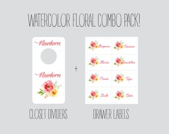COMBO PACK - Floral Closet Dividers and Drawer labels, Nursery, baby room, baby girl, baby girl shower gift, Organization