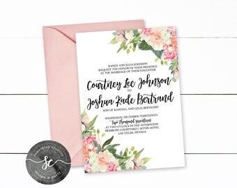 Floral Wedding Invitation! Boho, Pink Wedding Invitation, Printable