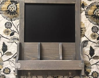 Chalkboard / Key Ring Holder / Mail Sorter / farmhouse style / rustic