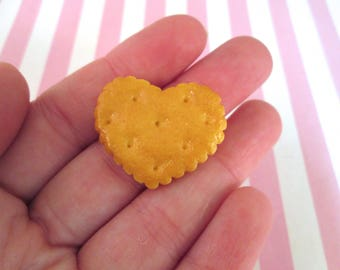 Miniature Heart Cookie Cabochons, Flatback Decoden Kawaii Sweets, #236