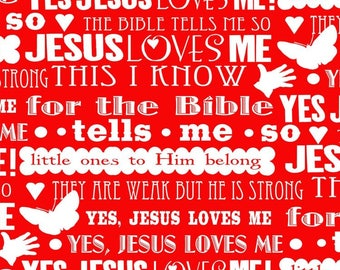 Jesus Loves Me II Red Words from Henry Glass by the yard