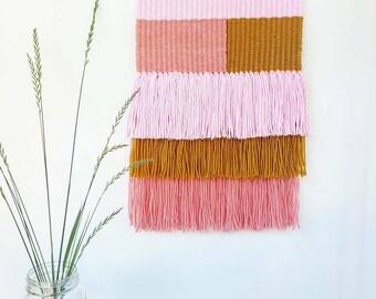 "Weaving, Woven Wall hanging, Fiber art, Macrame Wall Hanging, mid century modern decor, ""Sweet Pea"""