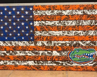 Gators American Flag- custom, hand-made wooden