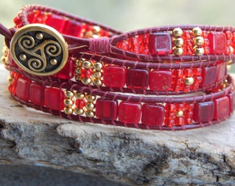3 Wrap Leather Bracelet in Red Gold with Red Leather and Gold Button