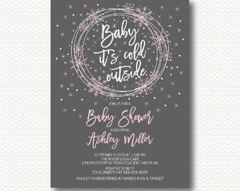 Snowflake Baby Shower Invitation, Winter Baby Shower, Baby It's Cold Outside, Snow, pink, Grey, Girls baby shower, Digital, Printable,