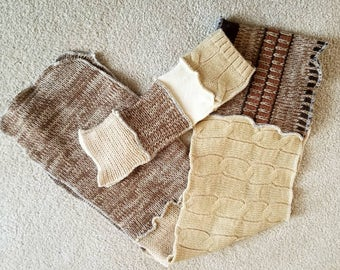 Fingerless Glove and Scarf Set from Recycled Sweaters