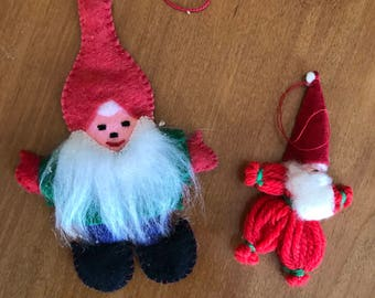 Vintage Swedish Christmas Tomte Ornaments | Scandinavian Santa Clause Ornaments | Nordic Holiday Ornaments | Retro Christmas Gnome Ornaments