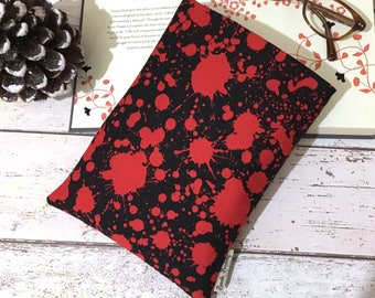 Horror Book Buddy®, Custom Size Book Sleeve, Unisex Bookworm Gift, Bookshelf Accessory, Blood Splat Book Bag, Padded Book Pouch, Book Lovers