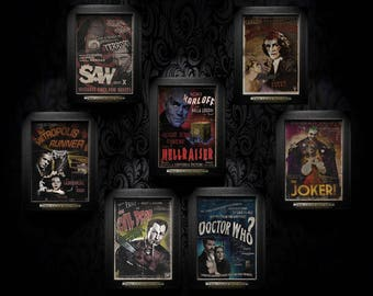 Sale! Instant Gallery, 7 A4 art prints at a low price! Doctor Who, Evil Dead, the Joker, Hellraiser, Metropolis Runner, Rocky Horror, Saw