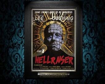 A2 Hellraiser Vintage Style Movie Poster art Print cult classic horror Cenobite pinhead art fanart alternate reality neverwere retro