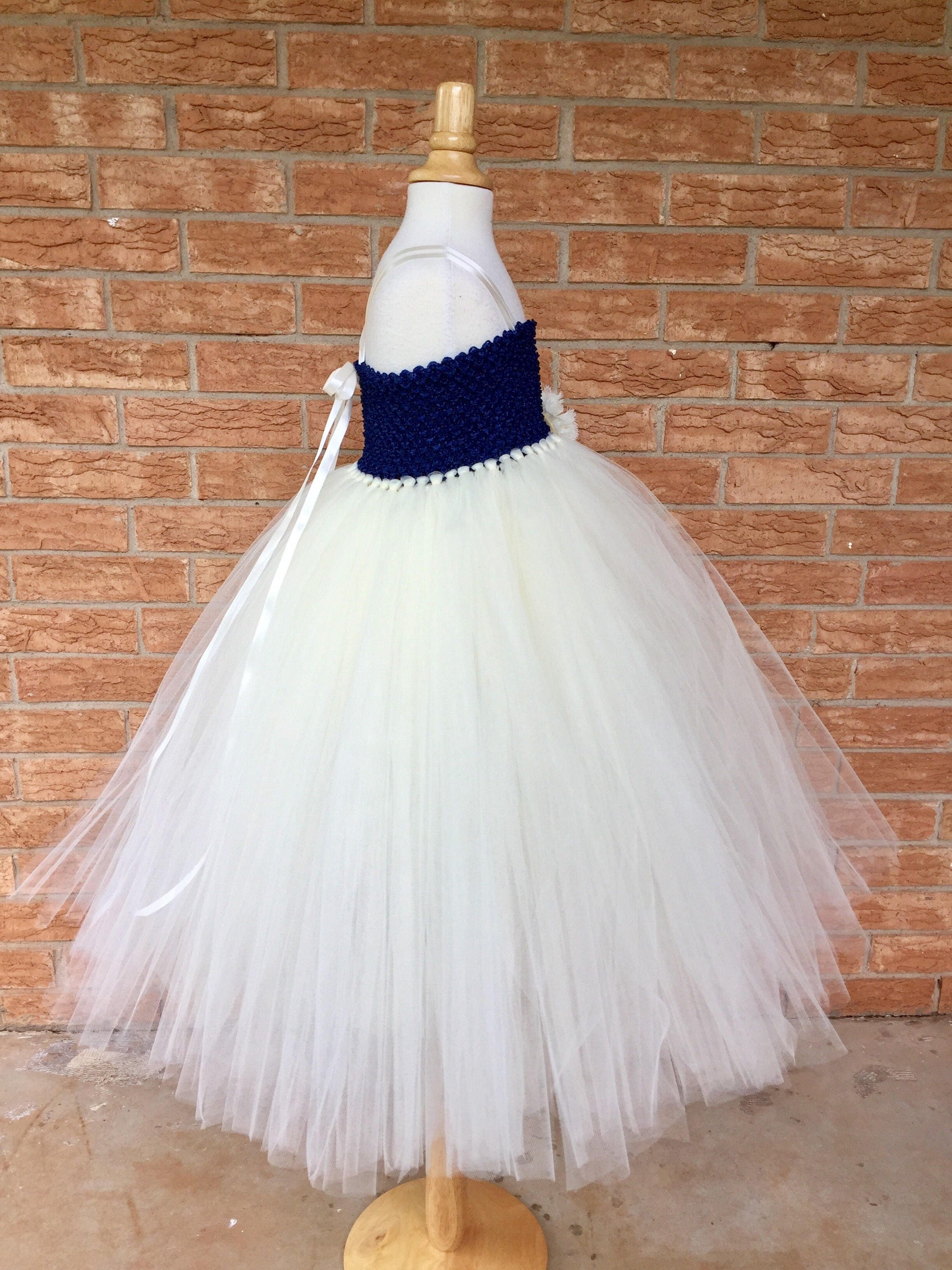 Navy and ivory dress flower girl dress blue and ivory tutu dress navy and ivory dress flower girl dress blue and ivory tutu dress navy izmirmasajfo