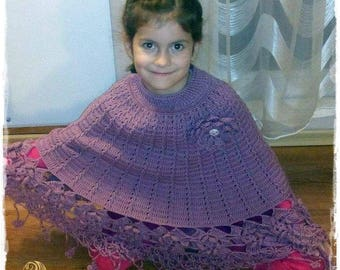 Kids purple crochet poncho / order