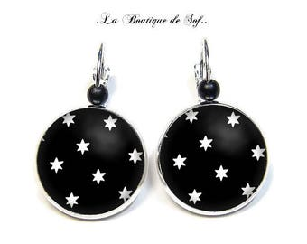 Stud Earrings with cabochon 18 mm * Star * (010617)