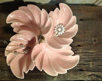 1950's California Pottery Pink Divided Dish.  Mid Century Tidbit Dish. Dresser Top Jewelry Dish.