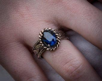 Sapphire solitaire ring, Sterling silver ring with created dark blue sapphire,