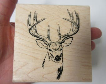Deer Head Rubber Stamp-Buck Head Stamp-Christmas Stamps