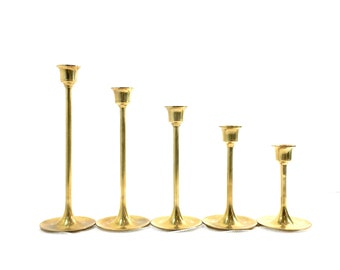 Vintage Brass Candlesticks Set of 5 Candle Holders Solid Brass Gold Tiered in Original Box Wedding Holiday Candle Stick Tablescape Decor
