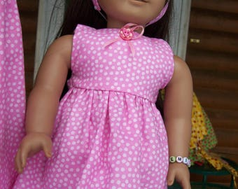 matching girl and doll dresses, pink with white dots