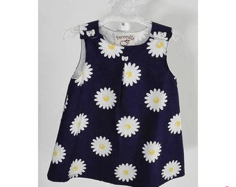 SALE Baby girl dress in blue navy with sunflowers