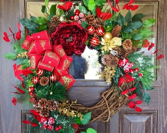 Front Door Holiday Wreath | Christmas Wreath | Grapevine Wreath | Christmas Decorations | Door Wreaths | Wreaths on Etsy | Etsy Wreaths