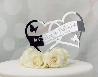 Wedding Cake Topper Heart Personalised Cake Decoration. Engagement or Anniversary cake topper. Add Names or Mr & Mrs Surname and Date