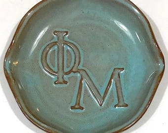 Vintage Signed Nicodemus Pottery Turquoise Glazed Dish With Greek Letters Phi & Mu
