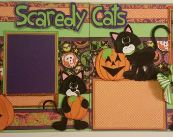 SCAREDY CATS Halloween 2 Premade Scrapbook Pages Paper Piecing for Album 12x12 Scrapbooking