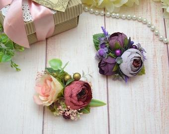 Red flower clip/ Purple hair clip/ Small hair clip/ Flower girl clip/ Flower headpiece for girl/ Floral hair clip/ Flower hair clip for girl