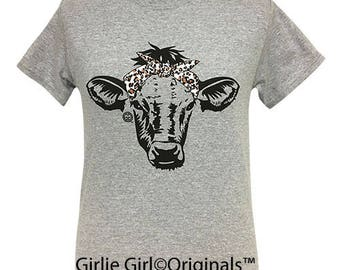 Girlie Girl Originals Leopard Bandana Cow Sport Grey Short Sleeve T-Shirt